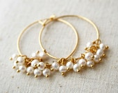 Pearl Hoop Earrings, Bridesmaid Earrings, Pearl Earrings