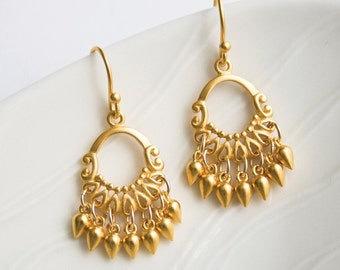 Gold Chandelier Earrings, Gold Jewelry, Bohemian Earrings, Gold Chandelier