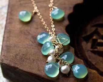 Pastel Green Necklace, Gemstone Jewelry, Wedding Jewelry