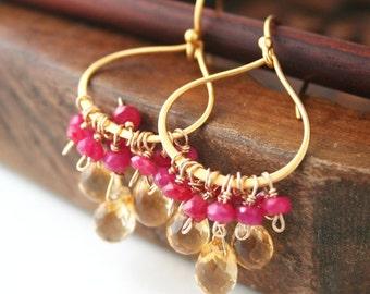 Chandelier Earrings,  Bollywood Earrings, Gemstone Jewelry, India