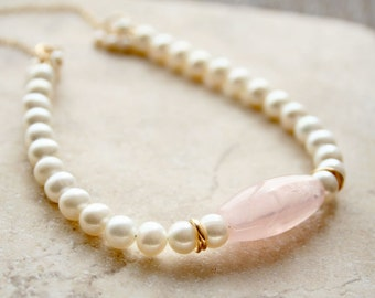 Pearl Necklace, Bridal Necklace, Rose Quartz, Wedding Jewelry, Freshwater Pearls