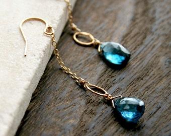 Blue Topaz Earrings, Gemstone Earrings, Birthstone Earrings, London Blue Topaz