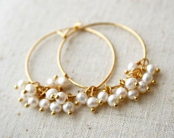 Pearl Hoop Earrings, June Birthstone, Pearl Earrings, Pearl, Pearl Jewelry