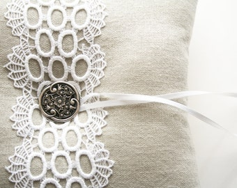 Wedding Ring Pillow, Lace Ring Pillow, Ring Bearer Pillow, Wedding Cushion