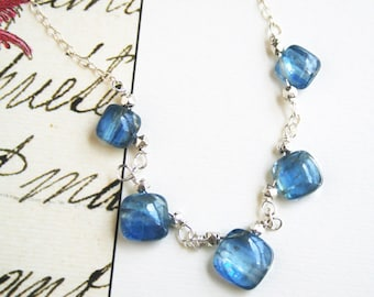 Blue Necklace, Silver Necklace, Gemstone Jewelry