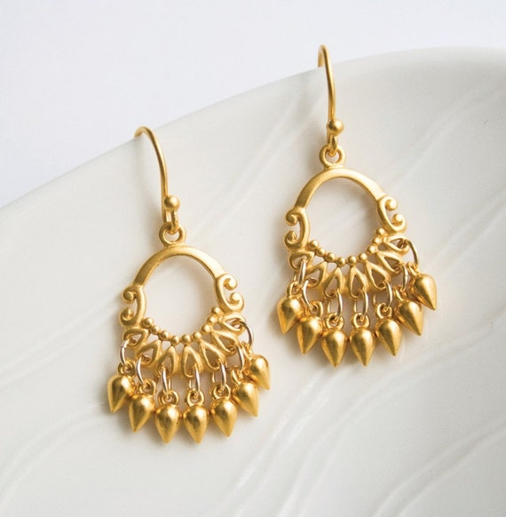Gold Chandelier Earrings, Gold Jewelry, Indian Summer