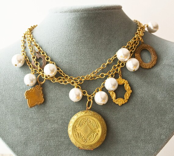 Locket Necklace, Vintage Pearls, Statement Jewelry
