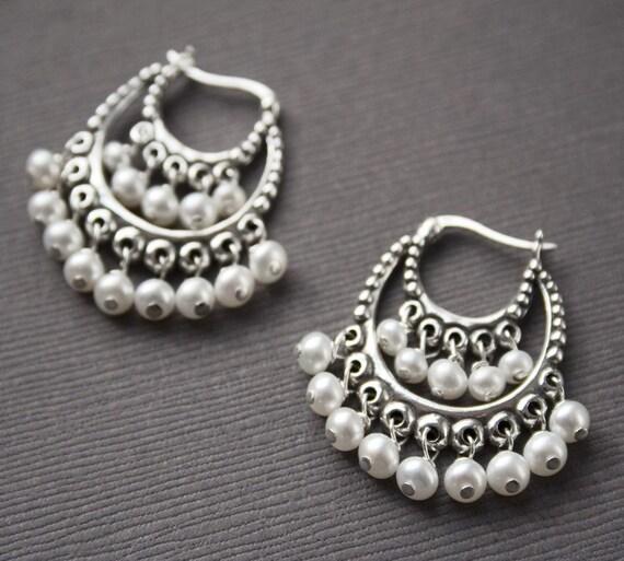Bohemian Jewelry, Ethnic Earrings, Sterling Silver
