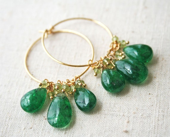 Emerald Earrings, May Birthstone, Hoop Earrings, Gemstone Jewelry