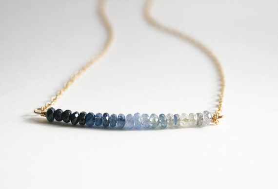 Sapphire Ombre Necklace, September Birthstone, Gemstone Jewelry, Sapphire Necklace