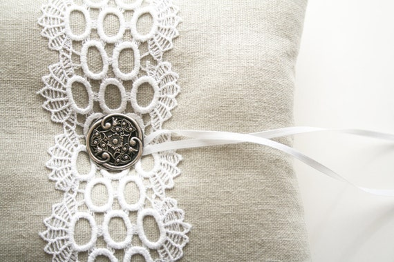 Lace Ring Pillow, Ring Bearer, Wedding Cushion, Rustic