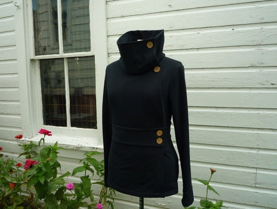 CABIN FEVER wrap around sweatshirt organic cotton black