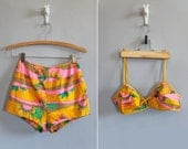 vintage 60s bikini // 1960s 2 piece swimsuit // high waisted // psychedelic print // size extra small