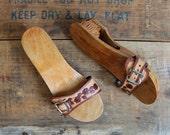 10 DOLLAR SALE size 6 vintage wood sandals - carved tiki mules - unworn