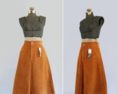 vintage suede skirt medium - 1970s leather skirt - A Line - rust brown - NWT NOS