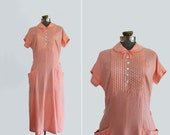 vintage 1950s dress // 50s day dress // peachy pink polka dots // size extra large