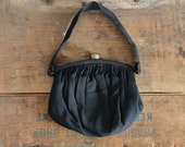 10 DOLLAR SALE vintage 1950s purse - black handbag - rayon faille - MM Morris Moskowitz