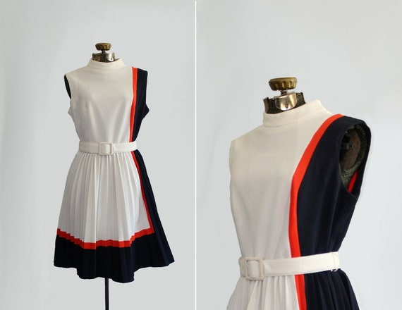 vintage 1960s dress // 60s nautical day dress // size large - extra large