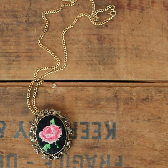 vintage rose necklace // needlepoint - cross stitch brooch // scrollwork frame Black Friday Cyber Monday