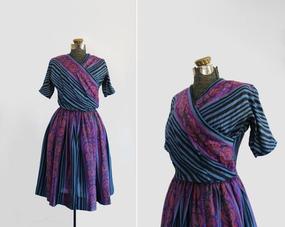 vintage 1950s dress - 50s party dress - faux wrap - full skirt - stripes & paisley - size small