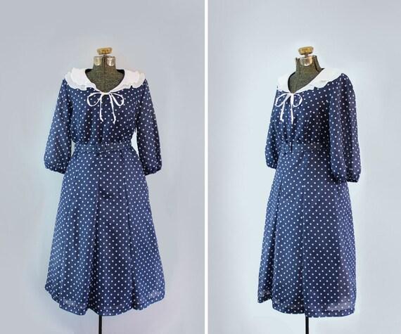 vintage 1950s dress // 50s day dress //polka dot chiffon // size large - xl