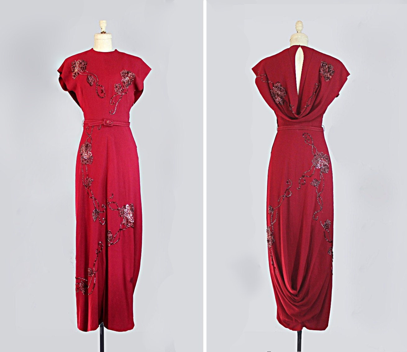 1940s Dressing Gown: Vintage 1940s Dress // 40s Evening Gown // Sequined & Draped