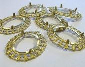 6 Brass 25x18 Filigree Prong Settings