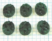 6 10x8mm Carved Jade Cabochons - Dark Green