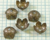 12 VINTAJ Brass Foliage Bead Caps - BC160