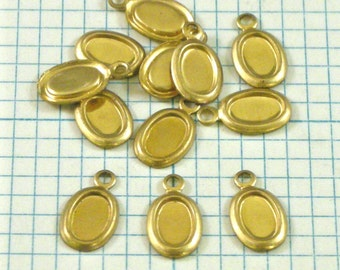 12 6x4mm Raw Brass Settings with One Loop