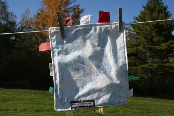 Baby Tag Blanket Blue Vintage Sheet Handmade Upcycled