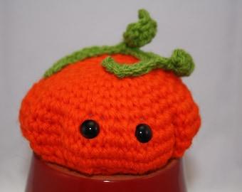 Large orange amigurumi pumpkin for Halloween or Thanksgiving