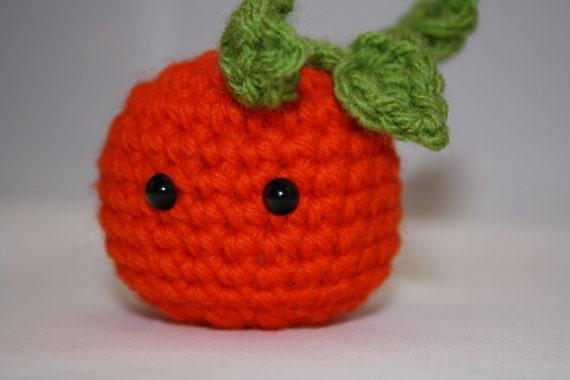 small orange amigurumi pumpkin for Halloween or Thanksgiving