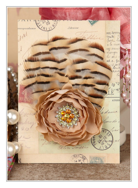 Fabulous Fascinator - Cream Brown Beige Yellow Orange - Feathers Flowers and Rhinestones