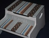 Kids Personalized 2 Step Stool and Storage Bench - Brown Grey Multi Dot