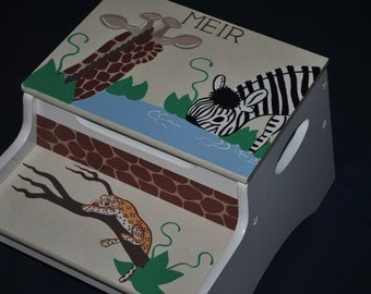 Kids Personalized 2 Step Stool and Storage Bench  IN THE JUNGLE