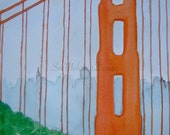 Sunny Golden Gate, original watercolor painting