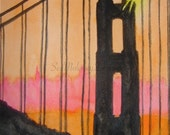 Sunset Golden Gate, original watercolor painting