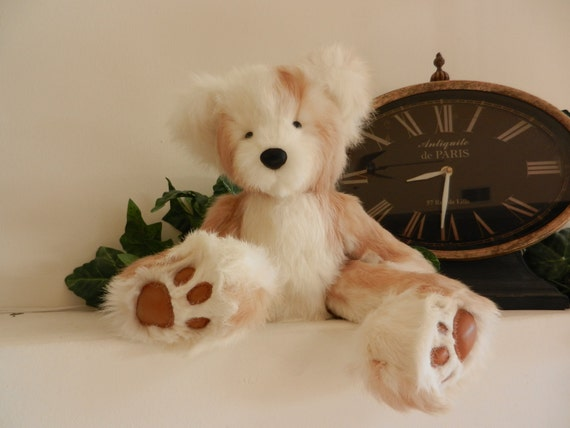 Annalise .. A Plush White Teddy Bear Made From Genuine Rabbit Fur