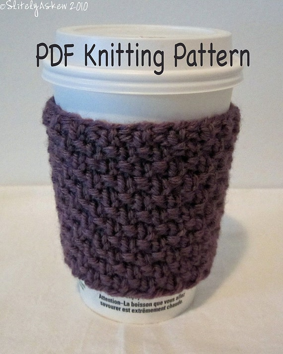 PDF Knitting Pattern Coffee Cozy or Cold Drink Sleeve