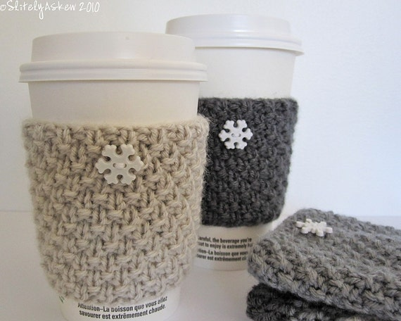 Cream Coffee Cup Cozy with Snowflake Button