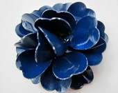 Deep Blue Enamel Flower Brooch Vintage Blue Flower Pin