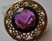 Vintage Purple Brooch, Large Stone