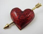 Vintage Arrow Valentine Brooch Heart
