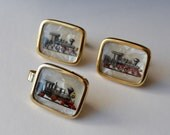 Vintage Train Cuff LInks and Tie Clasp Set