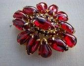 Red Rhinestone Brooch Vintage