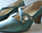 Vintage Teal Shoes, Heels,  Size 6 1/2