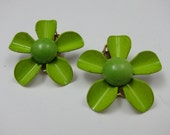 Lime Green Vintage Clip On Earrings