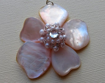Mother of Pearl Pendant Vintage Shell Jewelry Beach Wedding Jewelry Blush Pink