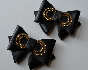 Black Bow Shoe Clips Vintage Black and Gold Clips